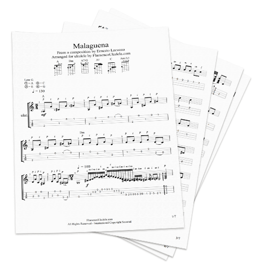 stack of flamenco ukulele printed music and tabs